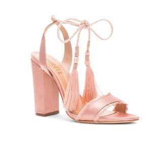 Schutz Primm Peach Pink Satin Lace Up Block Heel
